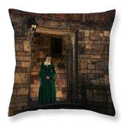 Tudor Lady In Doorway Throw Pillow
