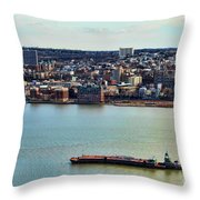 Tugboat On The Hudson Throw Pillow