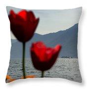 Tulip And Lake Throw Pillow