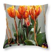 Tulip Arrangement Throw Pillow