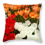Tulip Flowers Festival Art Prints Floral Baslee Throw Pillow