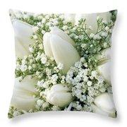 Tulip Tulipa Sp And Babys Breath Throw Pillow
