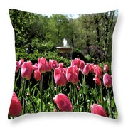 Tulips And Fountain Throw Pillow