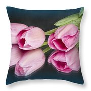 Tulips And Reflections Throw Pillow
