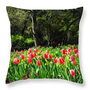 Tulips And Woods Throw Pillow