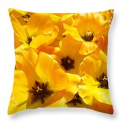 Tulips Art Prints Yellow Tulip Flowers Floral Throw Pillow