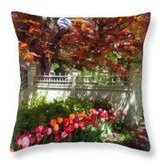 Tulips By Dappled Fence Throw Pillow