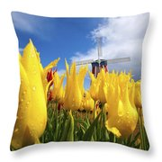 Tulips In A Field And A Windmill At Throw Pillow