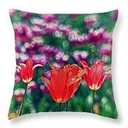 Tulips On Beautiful Bokeh Throw Pillow