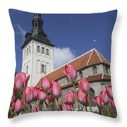 Tulips Outside Niguliste Church Throw Pillow