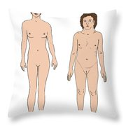 Turner Syndrome & Healthy Female Throw Pillow