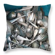Turquoise Box Of Silverware Throw Pillow