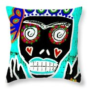 Turquoise Queen Sugar Skull Angel Throw Pillow