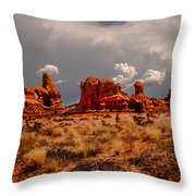 Turret Arch And Storm Clouds Throw Pillow