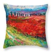 Tuscany Italy Landscape Poppy Field Throw Pillow