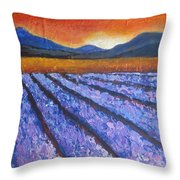 Tuscany Lavender Field Throw Pillow