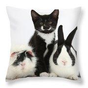 Tuxedo Kitten With Black Dutch Rabbit Throw Pillow