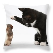 Tuxedo Kitten With Guinea Pig Throw Pillow