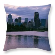 Twilight On The Bow River And Calgary Throw Pillow