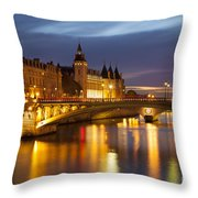 Twilight Over River Seine And Conciergerie Throw Pillow