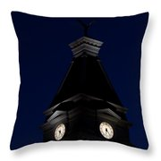 Twilight View Of Clock At Clarksville Historic Courthouse  Throw Pillow
