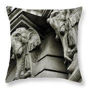 Twin Elephants Throw Pillow