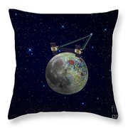 Twin Grail Spacecraft Map The Moons Throw Pillow