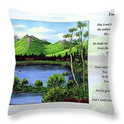 Twin Ponds And 23 Psalm On White Throw Pillow