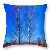Twin Trees At South Platte Park Throw Pillow