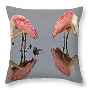 Twins Spoonbills On The Lake Throw Pillow