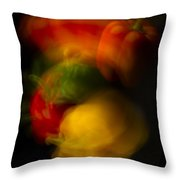 Twisting Peppers Throw Pillow