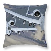 Two A-10c Thunderbolt II Aircraft Fly Throw Pillow
