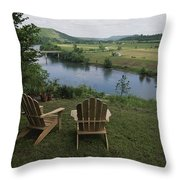 Two Adirondack Chairs On A Scenic Throw Pillow