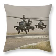 Two Ah-64 Apache Helicopters Prepare Throw Pillow