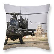 Two Ah-64 Apache Helicopters Return Throw Pillow