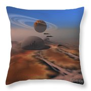 Two Aircraft Fly Over Domes Throw Pillow