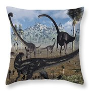 Two Allosaurus Predators Plan Throw Pillow