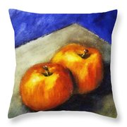 Two Apples With Blue Throw Pillow