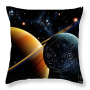 Two Artificial Moons Travelling Throw Pillow