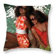 Two Beautiful Women In Dresses At The Pool Throw Pillow by Oleksiy Maksymenko