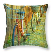 Two Bicyles Throw Pillow