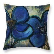 Two Blue Poppies Throw Pillow