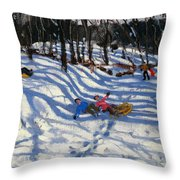 Two Boys Falling Off A Sledge Throw Pillow by Andrew Macara
