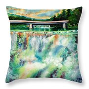 Two Bridges And A Falls 2          Throw Pillow