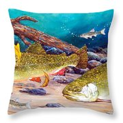 Two Brook Trout Throw Pillow