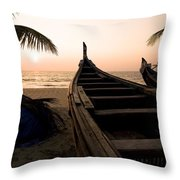 Two Canoes On The Beach At The Arabian Throw Pillow