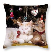 Two Cats At Christmas Throw Pillow