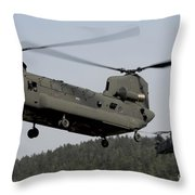 Two Ch-47 Chinook Helicopters In Flight Throw Pillow