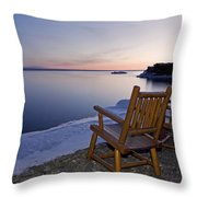 Two Chairs At Waters Edge Looking Out Throw Pillow by Susan Dykstra