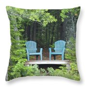 Two Chairs Sit At A Lakeside Camp Throw Pillow